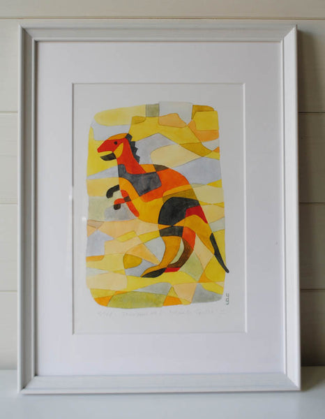 Dinosaur 1 - Mid Century Modern Nursery Print - yellow orange