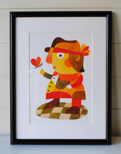 Mister D - Mid Century Modern Print - yellow orange red print