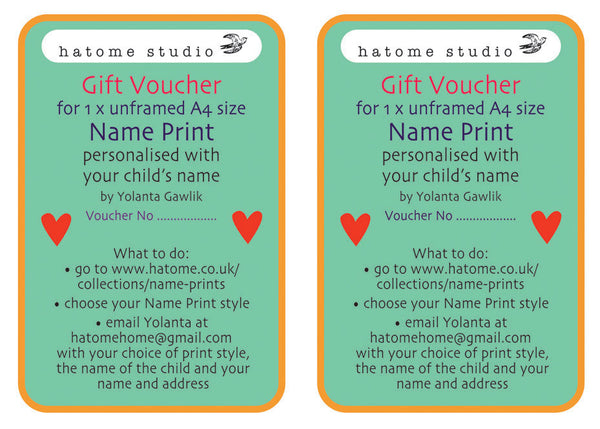 Two Name Print Gift Vouchers