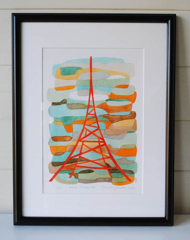 Orange Transmitter - Mid Century Modern Art Print - Crystal Palace Print