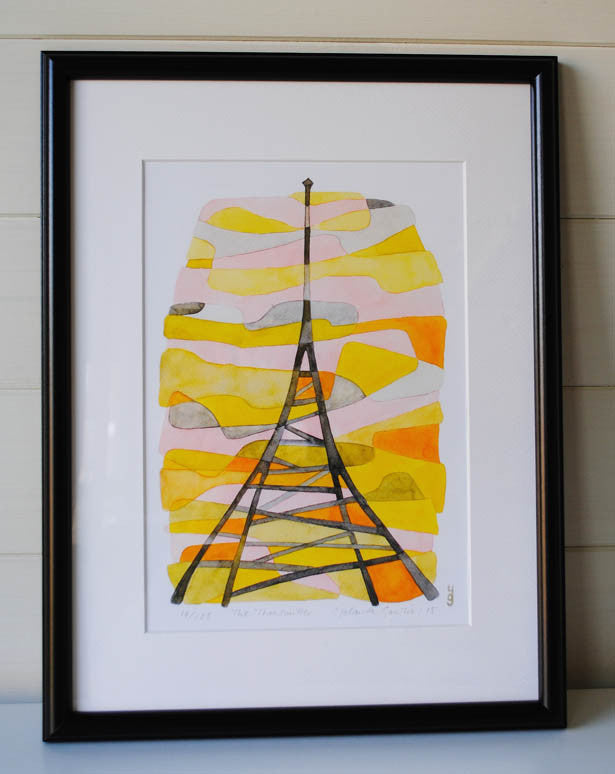 The Transmitter Mid Century Modern Art Print - yellow orange black Crystal Palace Print