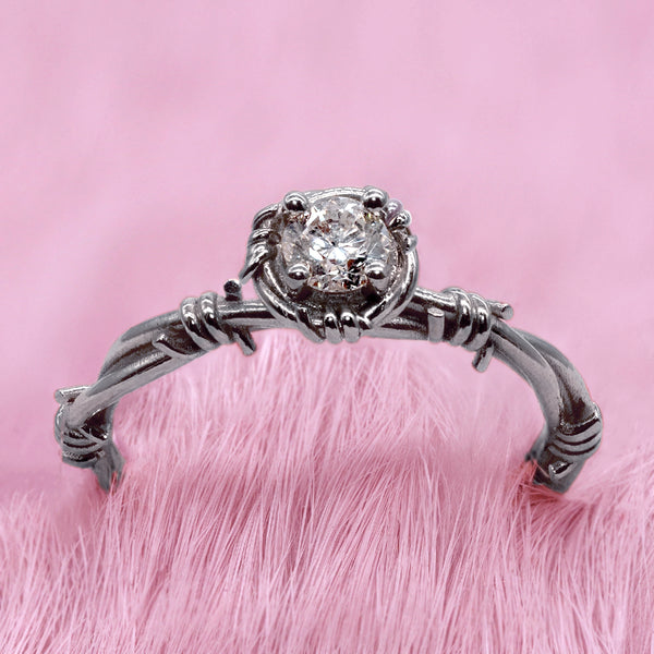 Pamela Barbed Wire Solitaire Ring