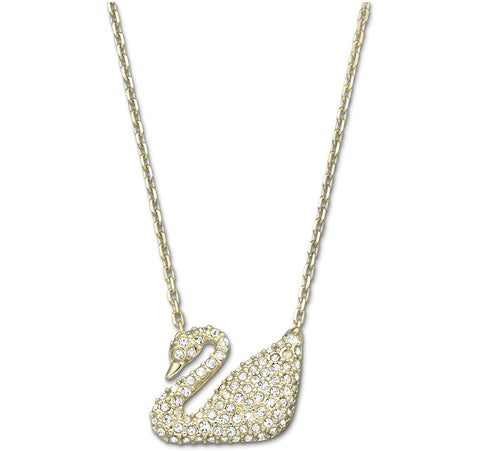 Swarovski Clear Crystal JEWELRY SWAN Pendant Necklace Gold #5063921