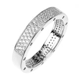 Wedding RING 4mm Band Signity CZ Rhodium over Sterling Silver
