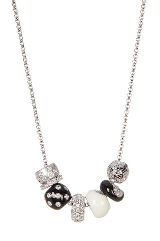 Swarovski Clear Crystal Pendant Necklace KAURI Black & White #1078152