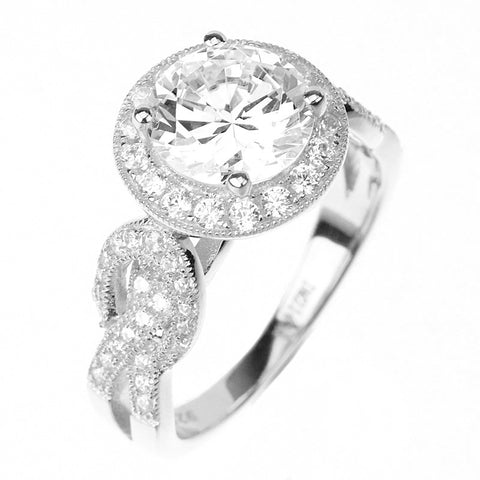 2ct Round Cut Solitaire w/Accent Engagement Ring Rhodium over Silver w/CZ