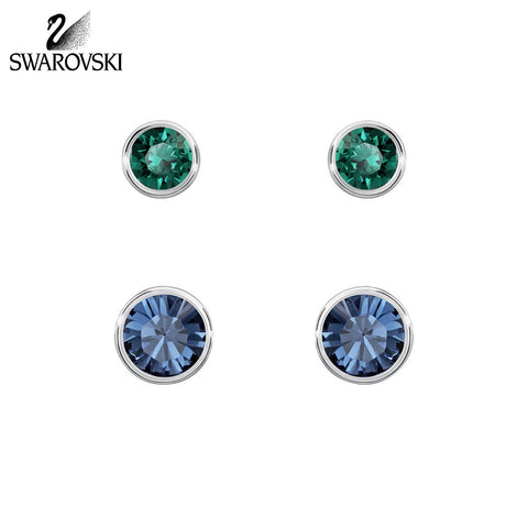 Swarovski Blue & Green Studs 2 Pairs Pierced Earrings HARLEY #5226495