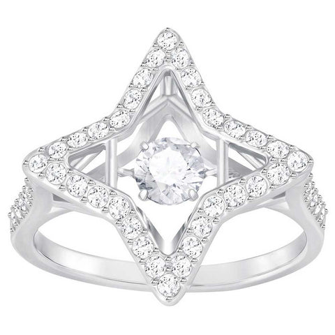 Swarovski Clear Crystal SPARKLING DANCING STAR RING, Rhodium