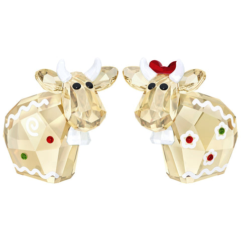 Swarovski Figurine Lovlots Cows Set of 2 GINGERBREAD MOs 2018 -5403297