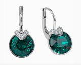 Swarovski MINI BELLA V PIERCED EARRINGS, Emerald, Rhodium - 5498876