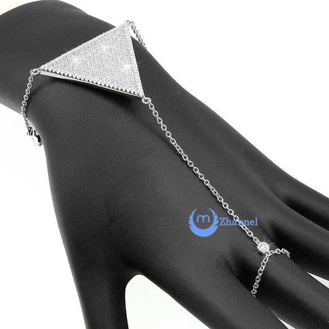 Finger Wrist Bracelet Harness Ring Rhodium over Sterling Silver Signity CZ - Zhannel  - 1