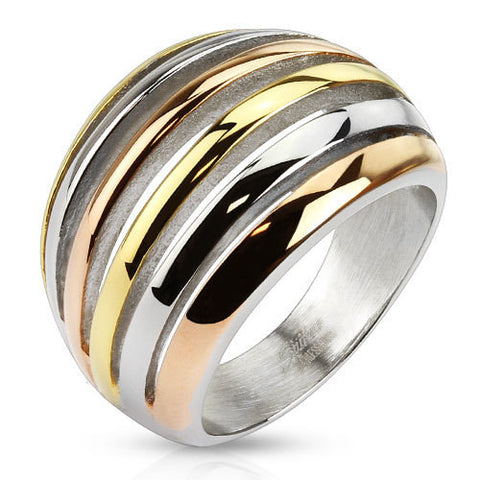 Three Tone Crescent Cut Out Fashion Cocktail Ring Stainless Steel - Zhannel