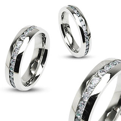 6mm Eternity Wedding Band Ring Band Clear CZ Stainless Steel - Zhannel