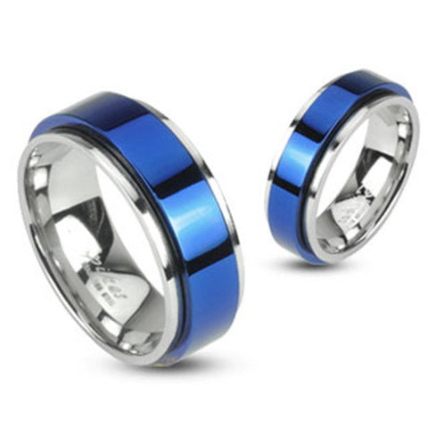 8mm Spinning Center Blue IP 316L Stainless Steel Double Layered Ring - Zhannel