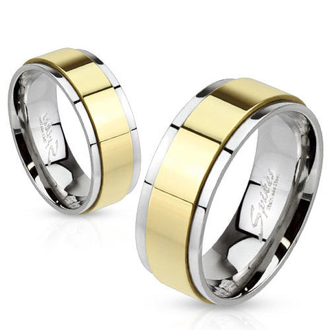 8mm Spinner Gold IP Two Toned Stainless Steel Ring Band - Zhannel