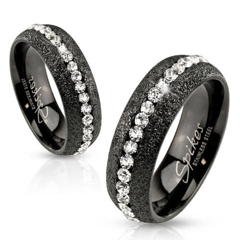 Glittery Black IP Over Stainless Steel Eternity Ring with Clear CZ Center - Zhannel
