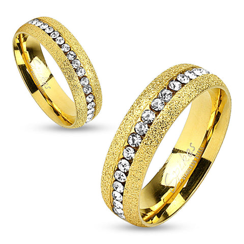 Glittery Gold IP Stainless Steel Eternity Wedding Band Ring w/CZ - Zhannel