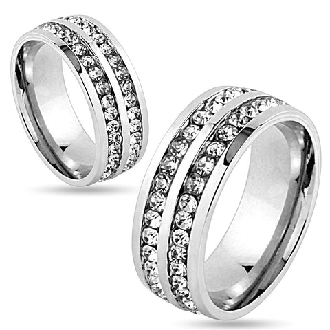 8mm Double Lined CZ Center Stainless Steel Wedding Band Ring - Zhannel