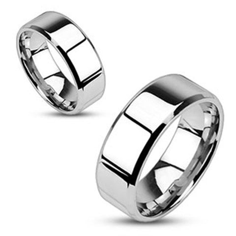 8mm Mirror Polished Flat Wedding Band Beveled Edge 316L Stainless Steel Ring - Zhannel