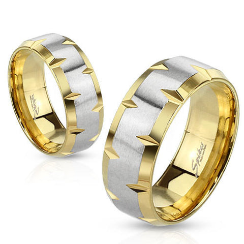 8mm Indented Beveled Edges Stainless Steel Gold IP Wedding Band Ring - Zhannel