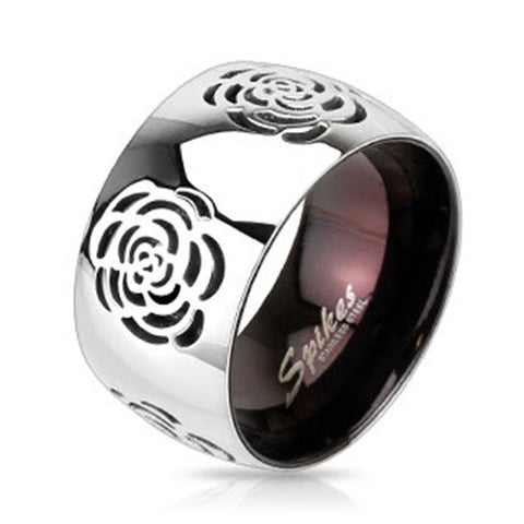 Grooved Rose Two Tone Black IP Band Fashion Ring Stainless Steel - Zhannel