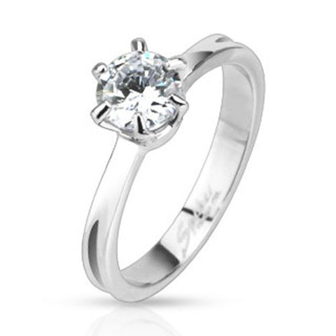 0.75ct Classic Prong Set CZ Solitaire Band Engagement Ring Stainless Steel - Zhannel
