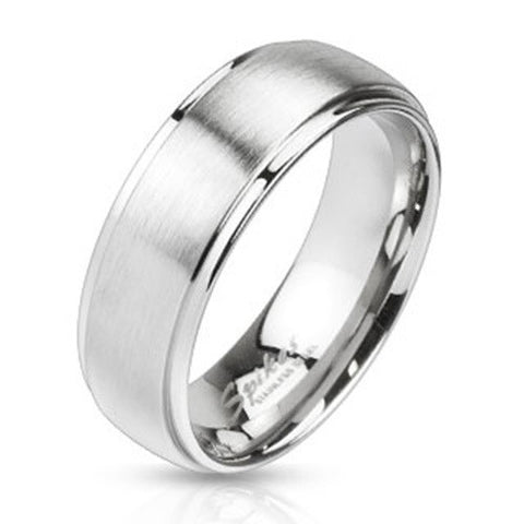 8mm Mirror Polished Edges & Brushed Metal Center Dome Band Ring Stainless Steel - Zhannel