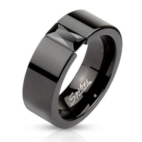 8mm Fashion Ring Black IP Band w/ Rectangular Black CZ Stainless Steel - Zhannel