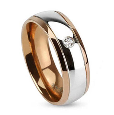 6mm Inner Rose Gold IP Two Toned Stainless Steel Dome Ring Band Single CZ - Zhannel
