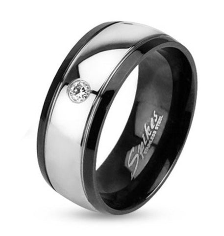 8mm Inner Black IP Two Toned Stainless Steel Dome Ring Band w/Single CZ - Zhannel