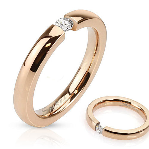 3mm Tension Band w/CZ Rose Gold IP Stainless Steel Band Ring - Zhannel