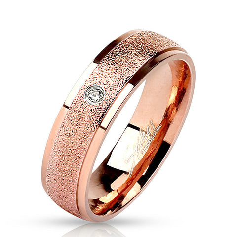Sanded Center w/ Clear CZ Rose Gold IP Wedding Band Stainless Steel Ring - Zhannel