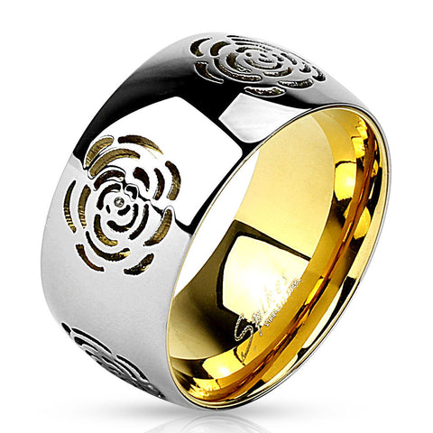 Rose Flower Cut Out Gold IP Two Tone Stainless Steel Fashion Ring Band - Zhannel