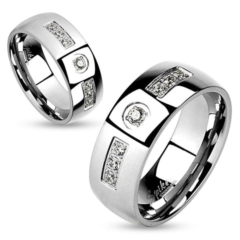 8mm Band CZ Inlay with Center Round CZ Stainless Steel Wedding Band Ring - Zhannel