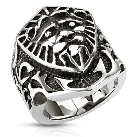 Lion Shield Wide 27mm Cast Ring Stainless Steel Men's Fashion Ring - Zhannel