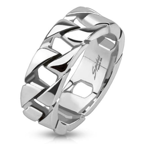 Cuban Link Chain Men's Ring Stainless Steel - Zhannel