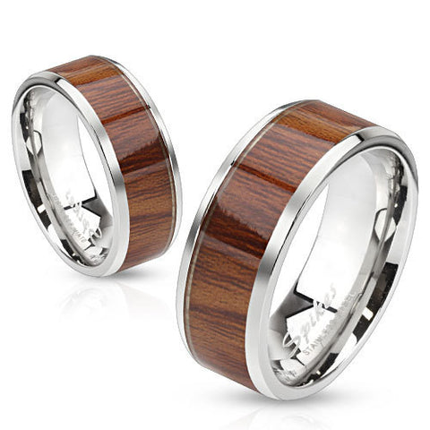 6mm Wood Pattern Light Color Center Stainless Steel Women's Band Ring - Zhannel