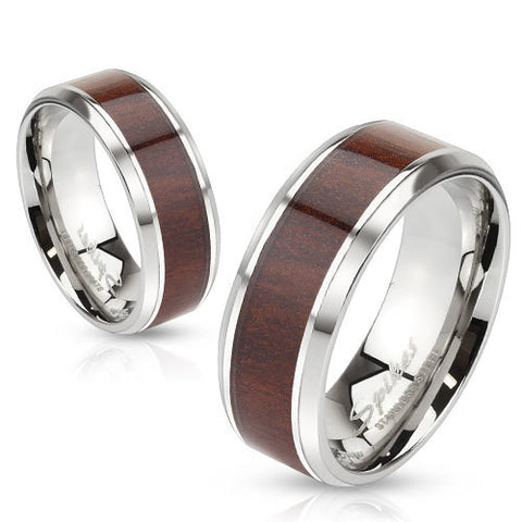 8mm Darker Wood Pattern Center Stainless Steel Beveled Edge Men's Band Ring - Zhannel