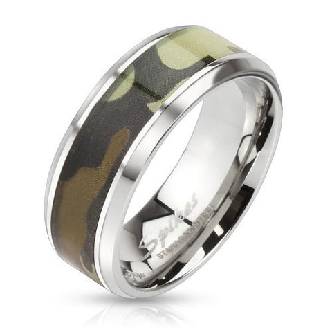 8mm Green Camouflage Inlay Stainless Steel Beveled Edge Band Ring - Zhannel