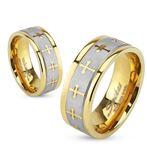 8mm Celtic Cross Gold IP Stainless Steel Ring w/ Brushed Center Two Tone Ring - Zhannel