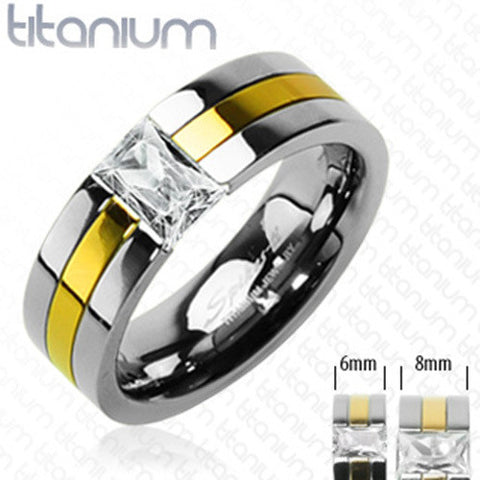 6mm Gold Plated with Emerald Cut CZ Stone Two Tone Ring Solid Titanium - Zhannel