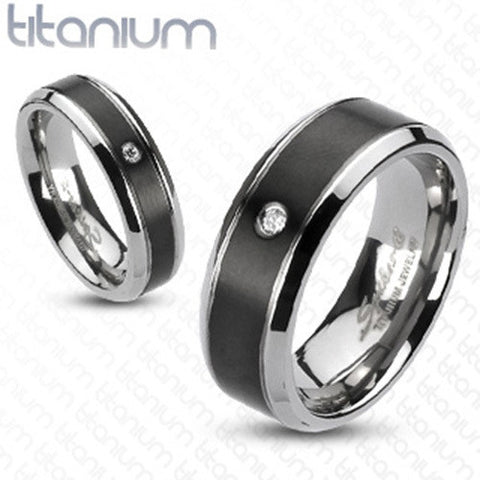 6mm Classic Beveled w/ Black IP Center & Single CZ Solid Titanium Ring - Zhannel
