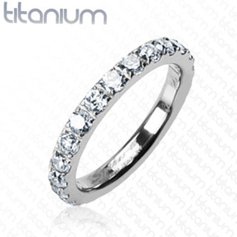 Round CZs All Around Eternity Band Women's Ring Solid Titanium - Zhannel