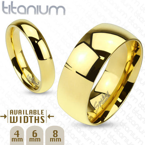 8mm Classic Wedding band Gold IP Solid Titanium Band Men's Ring - Zhannel