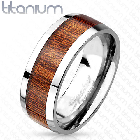 8mm Wood Print Inlayed Titanium Band Men's Ring - Zhannel
