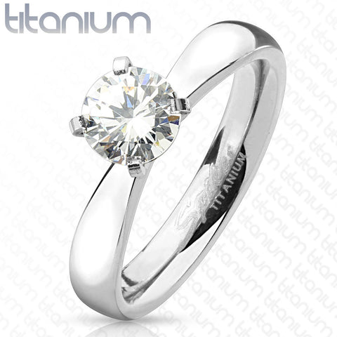 0.75ct Round Cut Solitaire CZ Titanium Engagement Ring - Zhannel