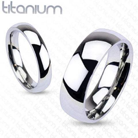 4mm Glossy Mirror Polished Traditional Wedding Band Ring Solid Titanium - Zhannel
