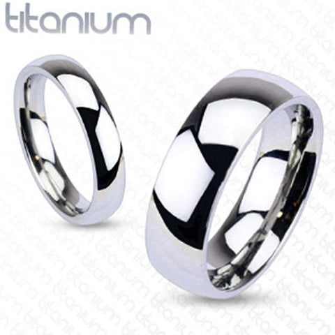 8mm Glossy Mirror Polished Traditional Wedding Band Ring Solid Titanium - Zhannel