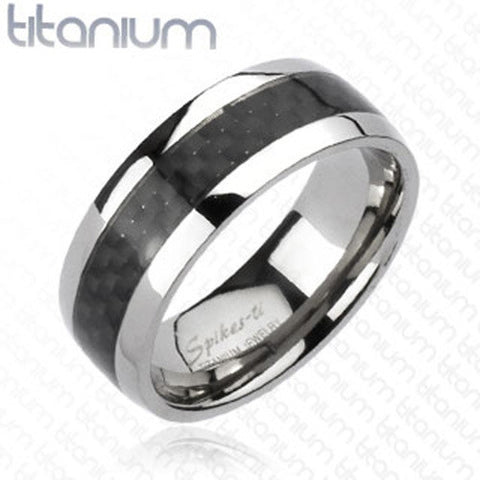 8mm Carbon Fiber Inlay Band Two Tone Ring Solid Titanium - Zhannel