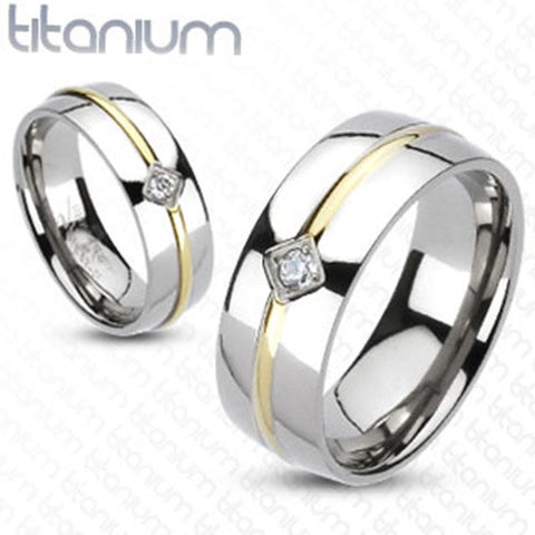 6mm Band Round CZ Gold IP Stripe Center Silver Color Band Ring Solid Titanium - Zhannel